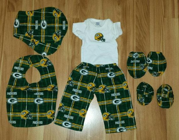 Green Bay Packer Baby Set Pants esie Mittens Booties
