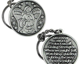 Guardian Angel Key Chain Key Tag Protect Me Pewter