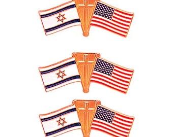 American, Israel Flag & Cross Friendship Pins Set of 3