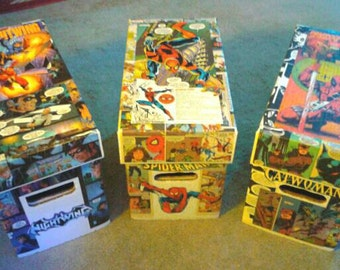 CUSTOM Comic Book SHORT Storage Box Made with Decoupaged Comic Panels!