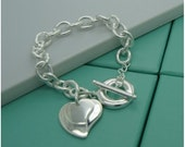 Personalized charm bracelet Double Heart charm with ring latch - Engraved bracelet