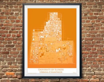 University of Illinois Graduation Gift | Alumni | College Map | Geography Gifts | UIUC | Fighting Illini