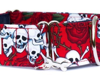 "Noddy & Sweets Adjustable Martingale Collar [1"", 1.5"", 2"" Skulls and Roses]"