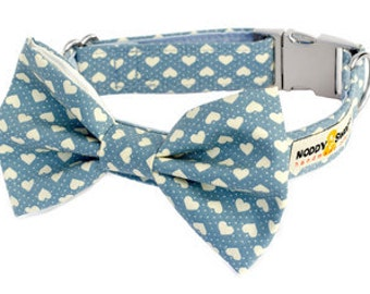 Noddy & Sweets Adjustable Metal Clasp Dog Collar with Bow Tie [Hearts Blue]