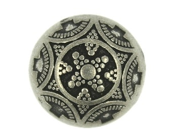 Metal Buttons - Medieval Flower Retro Silver Metal Shank Domed Buttons - 17mm - 11/16 inch - 6 pcs