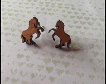 Horse Earrings - 1x pair of cherry wood earrings wih rearing horse design - 12mm wooden brumbies set on surgical steel posts - wooden brumby