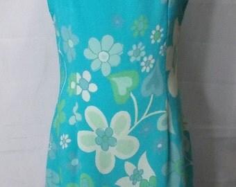 NC Love Turquoise Blue Floral Flower Power Sleeveless Shift Vintage Dress