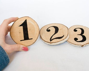 10 Wood Slice Wedding Table Numbers / Set of 10 /  Table Centrepiece Decor / Rustic Table Numbers / Outdoor Weddings / Wooden Table Numbers