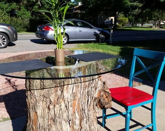 Tree trunk table base w/ glass table top