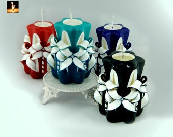 Gift for her gift for women wife gift womens gift Turquoise candle Carved candles handmade candles