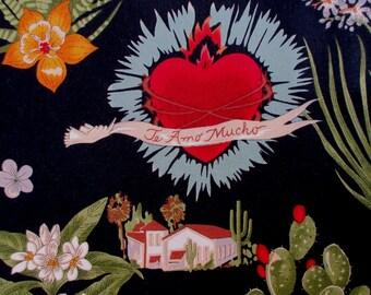 Fabric, Viva Frida in Black, Alexander Henry, Heart of Love, One Yard or More