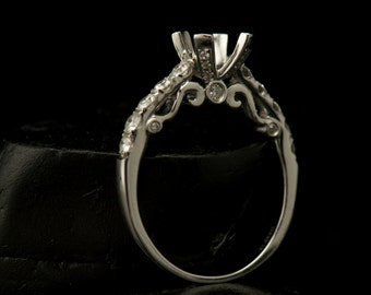 Jayda - Engagement Ring Semi-Mount for 5.5mm Round Center in White Gold, Filagree and Scroll Design, Prong Set Side Stones, Free Shipping