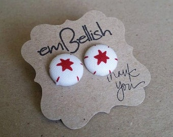 Christmas Fabric Button Studs *free shipping*