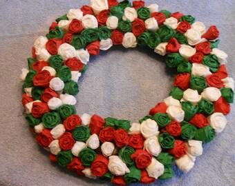holiday wreath/paper rose wreath/winter wreath/