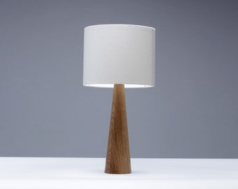 Oak table lamp Cone shape 41cm bedside