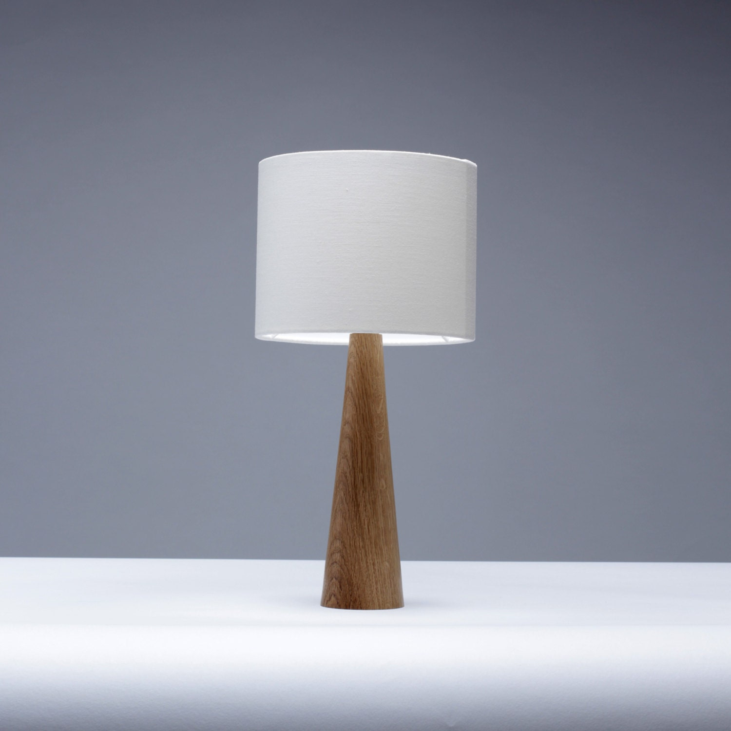 Handmade solid oak wood bedside table lamp by homeandkitchen for Side and lamp tables