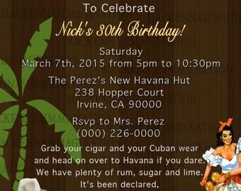 Havana Nights Birthday Invite- DIGITAL