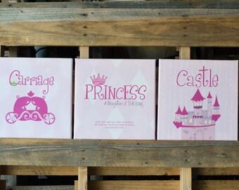 Princess Canvas Kid Art SET OF 3