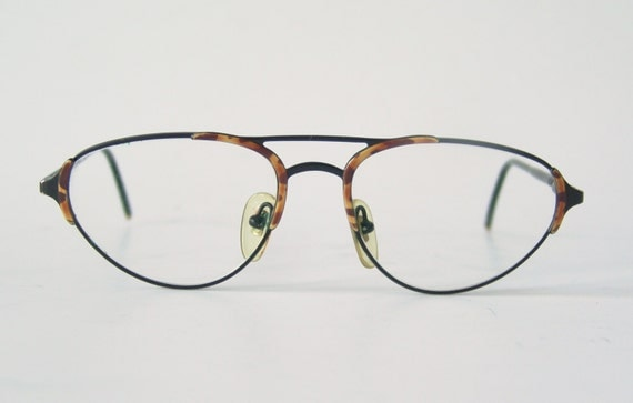Eyeglass Frame In German Language : Vintage eyeglasses German frame black and brown glasses oval