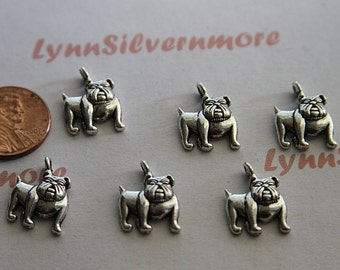 20  pcs per Pkg 14x16mm One side Bulldog charm Antique Silver Finish Lead Free pewter