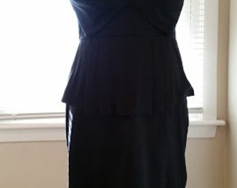 Retro Strapless Black Dress with Peplum