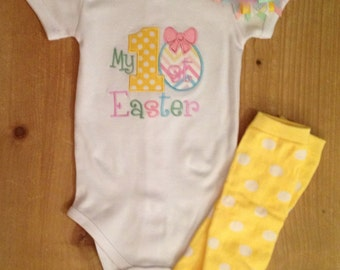 My 1st Easter Shirt or Baby Bodysuit, Legwarmers, and Bow Set