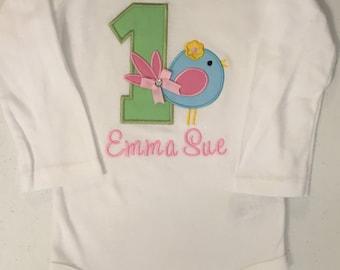 Pastel Little Birdie Birthday Shirt or Baby Bodysuit