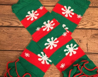 Christmas stripes and snowflakes ruffle legwarmers