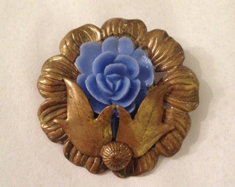 Vintage Brass and Blue Celluloid Rosette Brooch