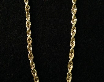 Vintage 14K Yellow Gold Twisted Chain Necklace -7.2 g