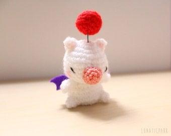 Cute amigurumi Moogle from final fantasy - as keychain or mini plush you can choose