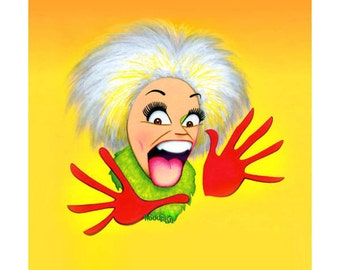 PHYLLIS DILLER color caricature logo print by Dave Woodman
