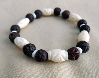 Bone and Lava Rock Bead Bracelet