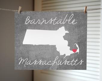 Massachusetts State Print, Any City Massachusetts Print, Massachusetts Gift, Concrete Style Print, State Print