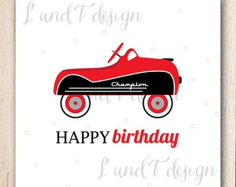 Vintage Race Car Birthday Card