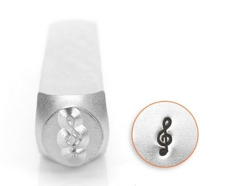 Treble Clef Metal Stamp ImpressArt 6mm, Music Symbol Design, Tool for Hand Stamped Jewelry