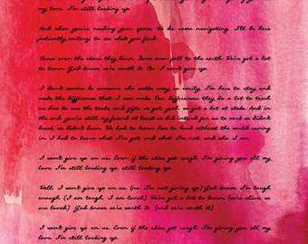 I Won't Give Up - Jason Mraz/ Wedding Song Lyrics/ First Dance/ Gift from Groom to Bride/Gift from Bride to Groom - 8x10 +