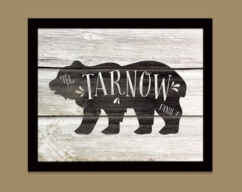 Personalized Family Name/ Bear and Woodgrain Print/Rustic Cabin Art/ Wedding Gift /House Warming/Family Name/Cabin Art - 8x10 & up