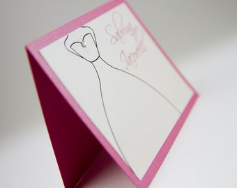 Place cards, Bridal cards, Place seating, Pink cards, Dress cards, Table cards, Bridal shower