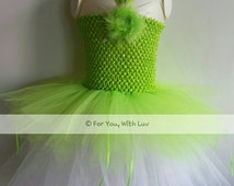 Green and white fairy tutu dress, costume, birthday party dress, pageant wear, dance dress, for playing dress up.