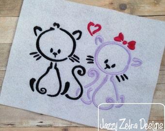 Cat Love Satiin Outline Stitch Embroidery Design