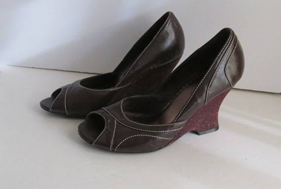 peep toe 80s brown cork wedge brown shoes sz 6 5 chunky