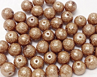 50 Beige Glass Beads, Textured Glass Beads (1-1299)