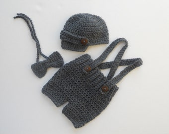 Baby Diaper Cover with Suspenders and Newsboy Hat and tie Set - Crochet Newborn Photography Prop - Baby Boy Clothes - Newsboy - Newborn