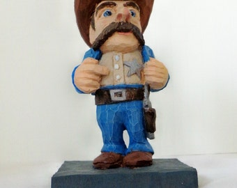 Little Sheriff, Caricature Woodcarving,  figure