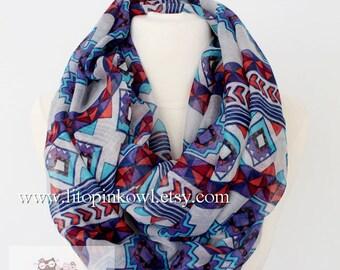 geometric infinity scarf, loop scarf, circle scarf, women scarf, aztec scarf, large scarf, infinity loop scarf, animal print scarf, gift