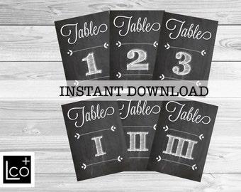 Printable Table Numbers, 5 x 7 Wedding Table Numbers, Chalkboard Wedding Table Numbers, Printable Chalkboard Table Numbers, Roman Numeral