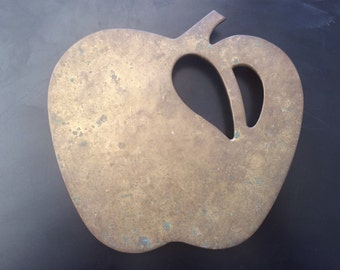 Vintage 1970's Modern Brass Apple Trivet