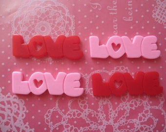 LOVE Word Cabochons 38mm x 13mm - 4pcs