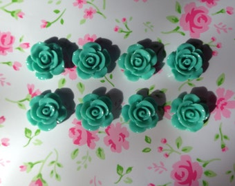 Teal Turquoise Flower Cabochons 15mm - 8pcs